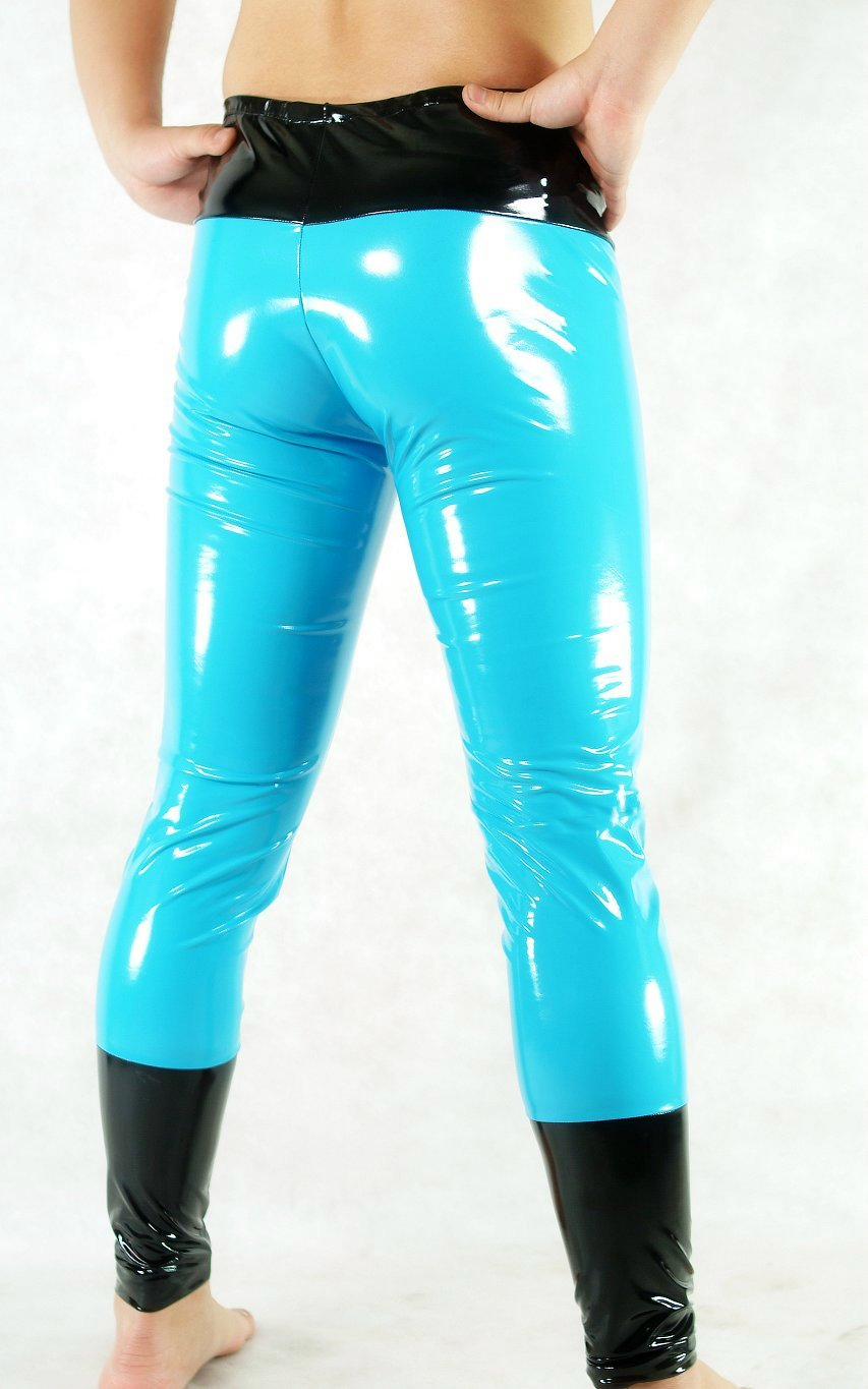 Black Sky Blue PVC Leggings
