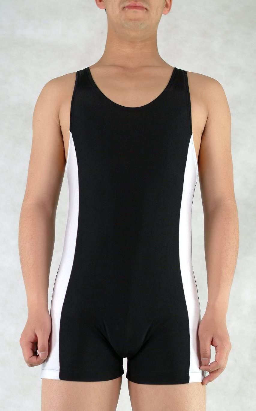 Black White Lycra Gym Suit Leotard