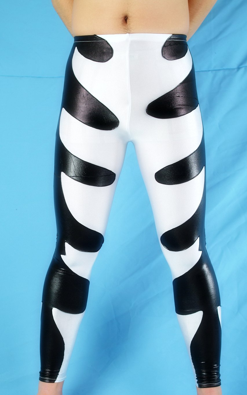 Black White Spandex Leggings For Men | cosercosplay.com