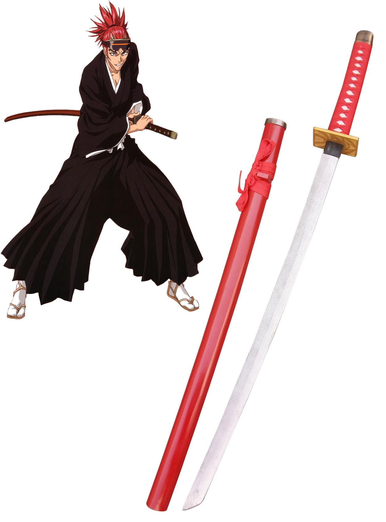 Bleach Abarai Renji Zanpakutou Zabimaru Cosplay Wooden Weapons