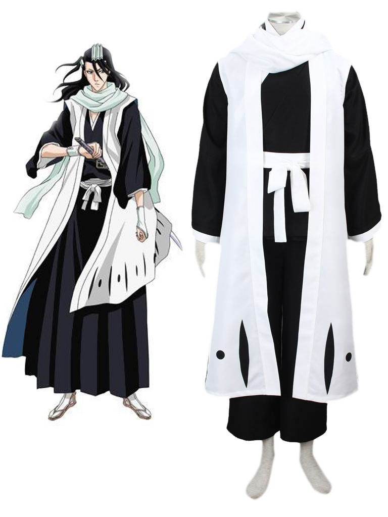 Bleach Gotei Thirteen Byakuya Kuchiki Captain of the 6th Division Soul Reaper Kimono Cosplay Costumes