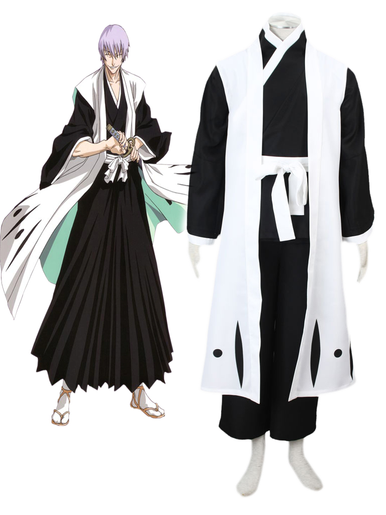 Bleach Gotei Thirteen Gin Ichimaru Captain of the 3rd Division Soul Reaper Kimono Cosplay Costumes