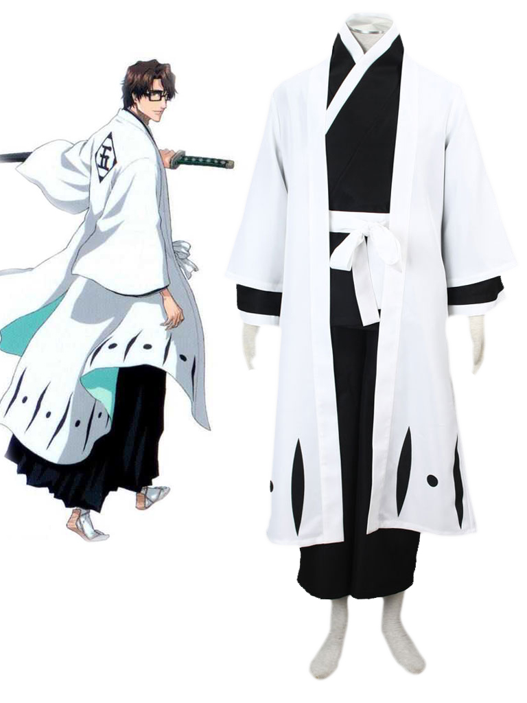 Bleach Gotei Thirteen Sosuke Aizen Captain of the 5th Division Soul Reaper Kimono Cosplay Costumes