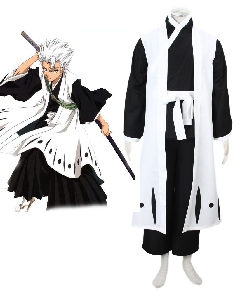 Bleach Gotei Thirteen Toshiro Hitsugaya Captain of the 10th Division Soul Reaper Kimono Cosplay Costumes