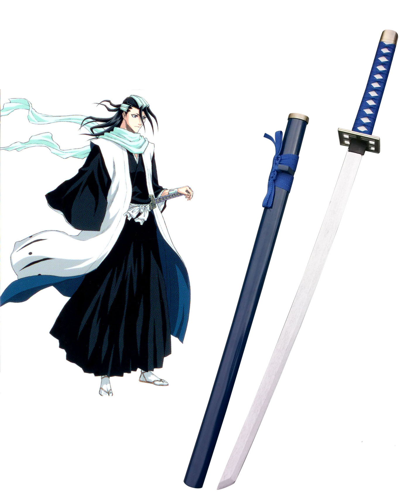 Bleach Kuchiki Byakuya Zanpakutou Senbonzakura Blue Cosplay Wooden Weapons