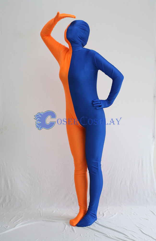 Blue And Orange Split Zentai Suit