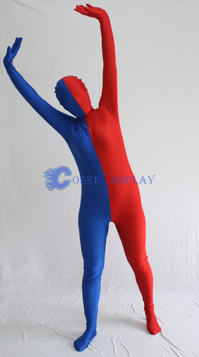 Blue And Red Split Zentai Suit
