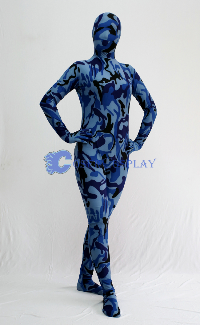 Blue Black Camouflage Zentai Suit