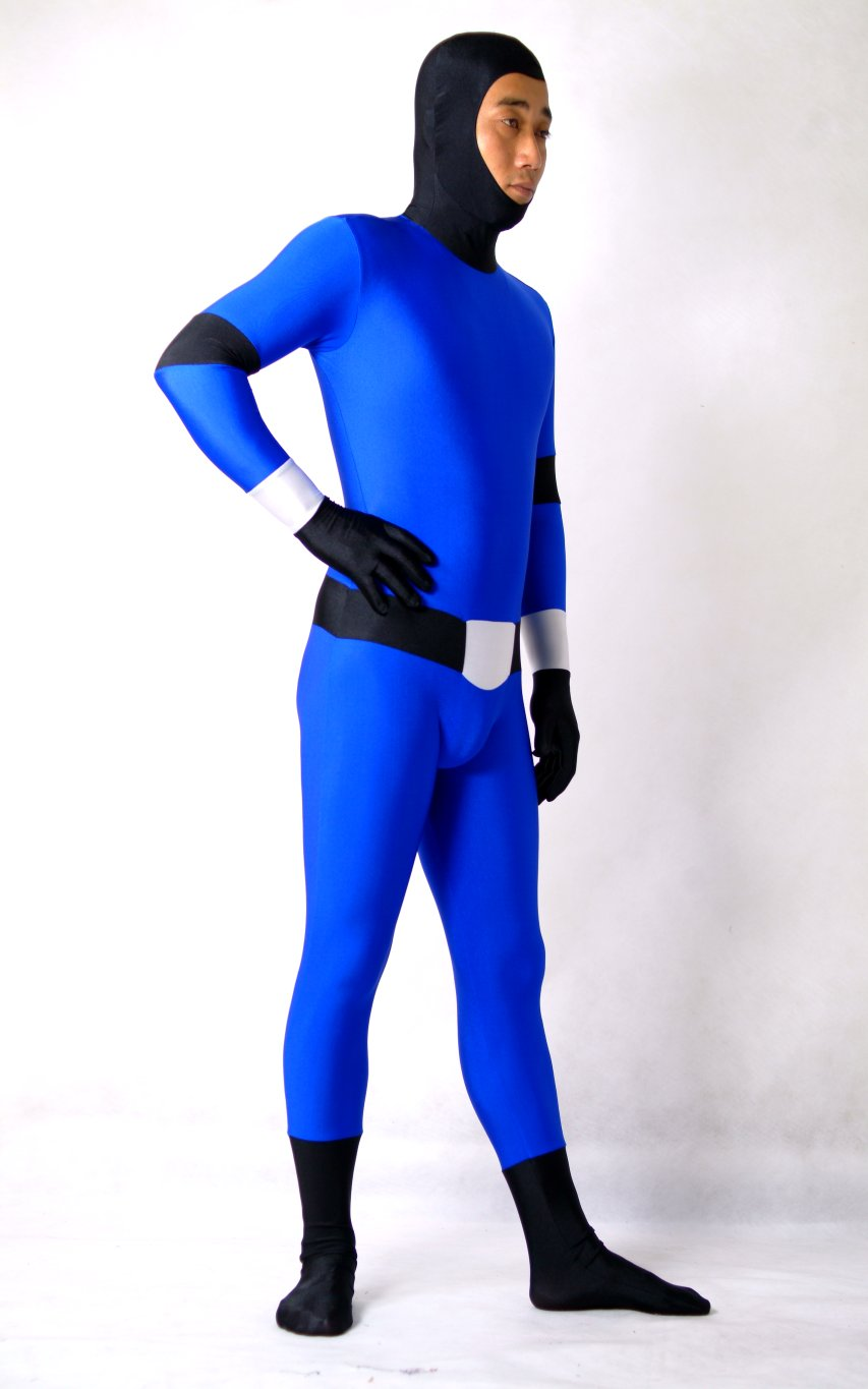 Blue Open Face Lycra Full Body Suit Zentai