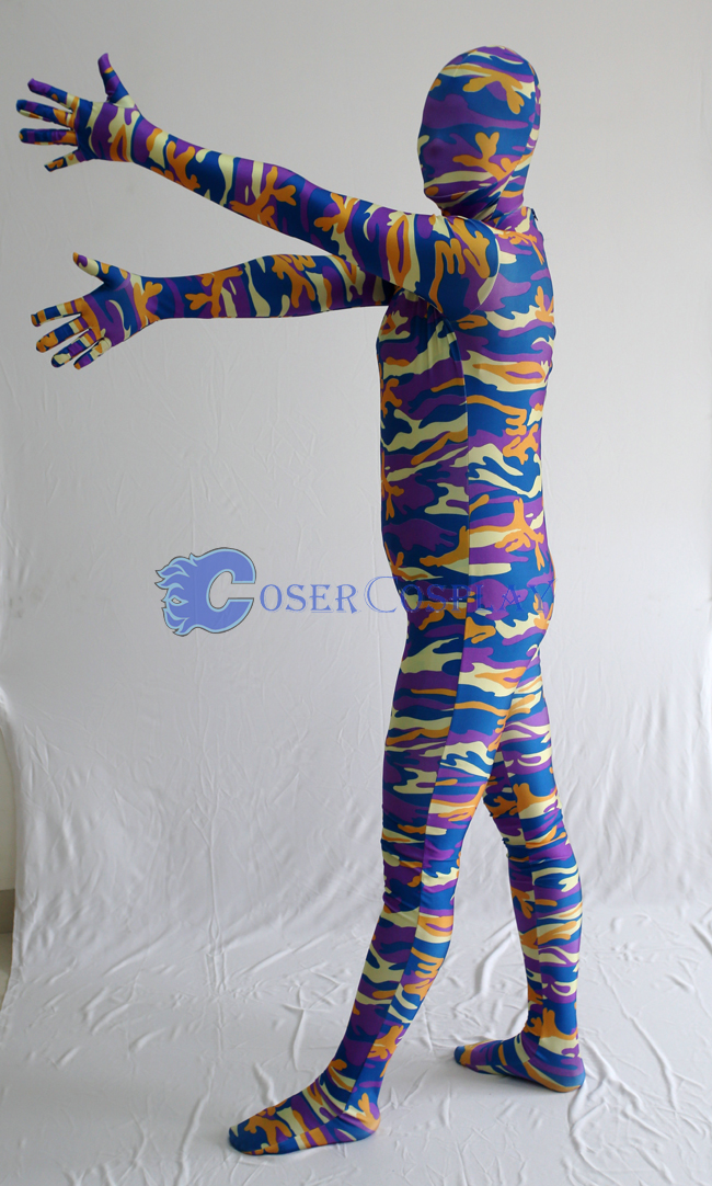 Blue Orange Camouflage Zentai Suits
