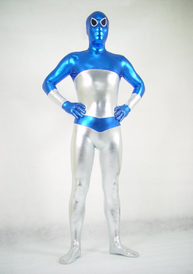 Blue Silver Halloween Costumes Zentai