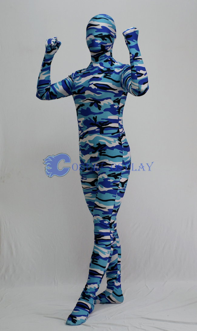 Blue White Camouflage Full Body Suit