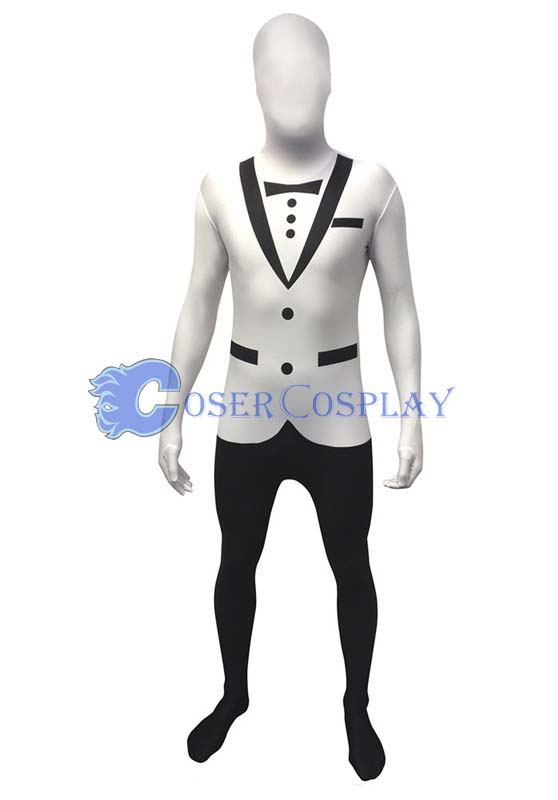 White And Black Tuxedo Morphsuit Zentai