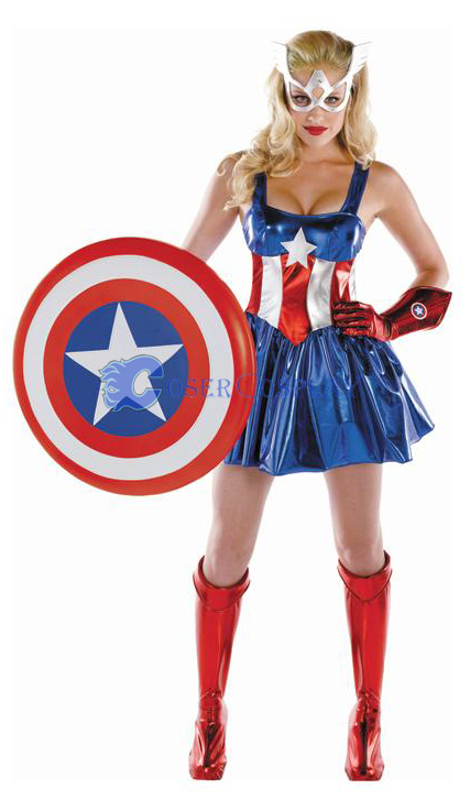 Captain America Cosplay Costume Dress Sexy
