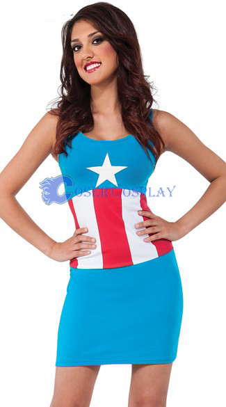 Captain America Cosplay Costume Dress Spandex
