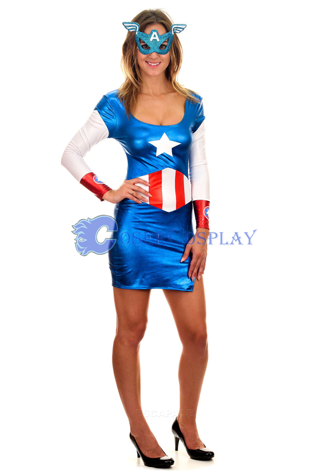 Captain America Cosplay Costume Dress Wetlook