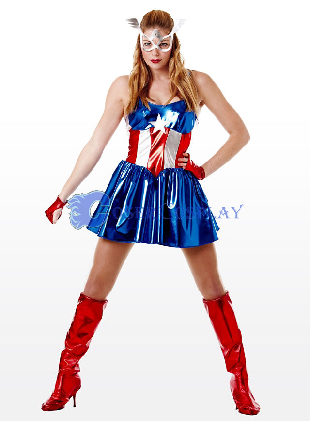 Captain America Cosplay Costume Dress