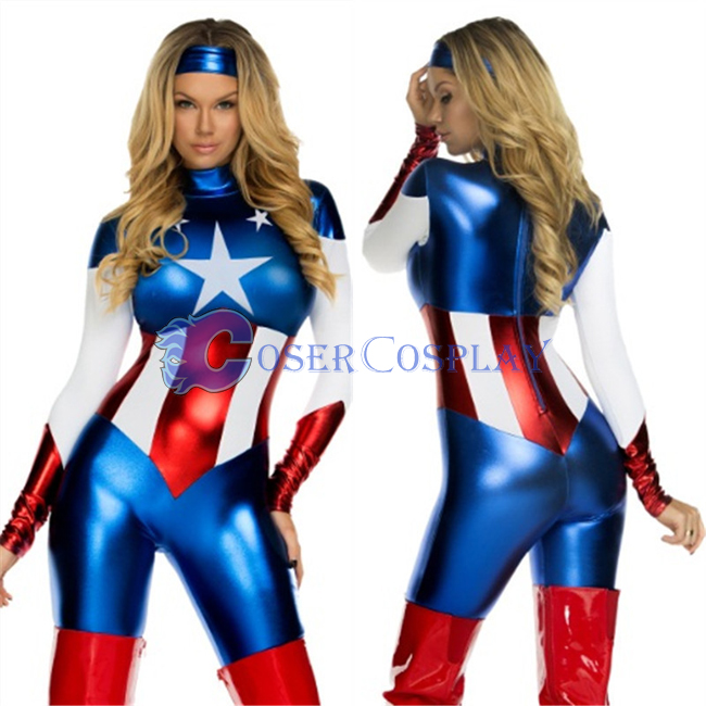 Captain America Costume Halloween Catsuit