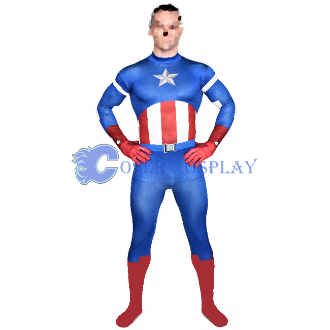 Captain America Halloween Costume Men Catsuit
