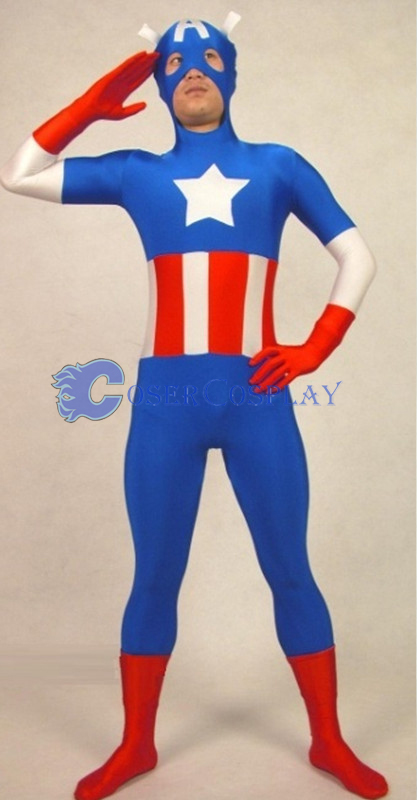 Captain America Halloween Costume Zentai Men