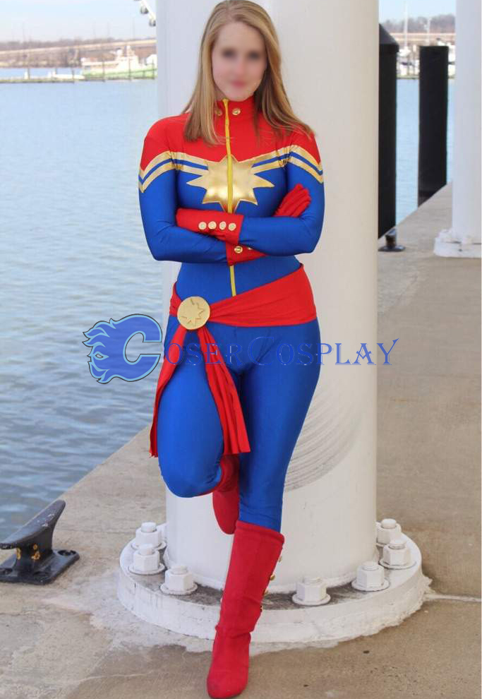 Captain Marvel Carol Danvers Sexy Cosplay Costume