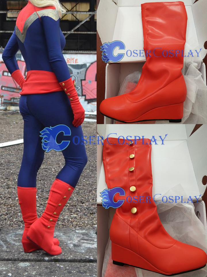 Captain Marvel Ms Red Wedge boots With Buttons