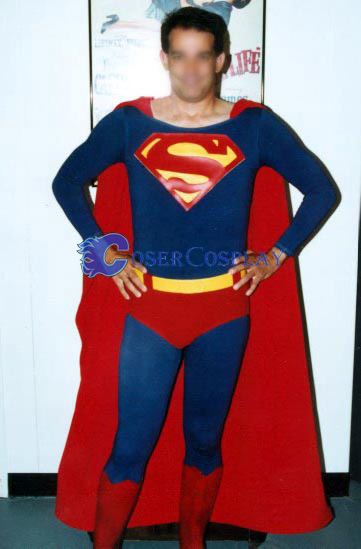 Classic Superman Cosplay Costume Long Cape