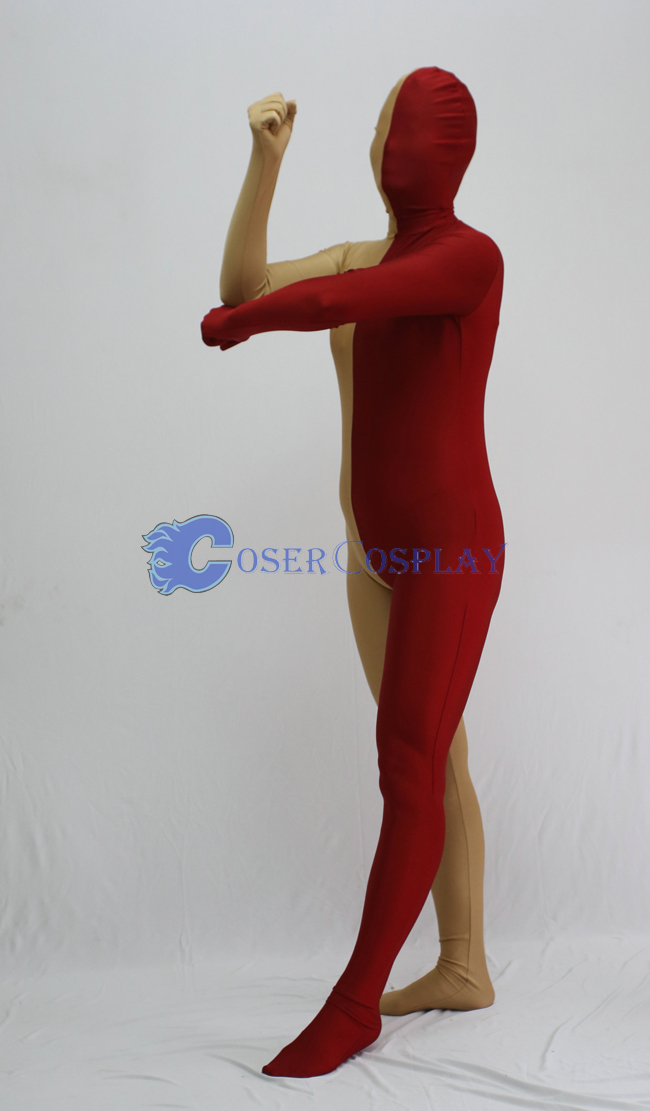 Coffe And Red Split Zentai Suits