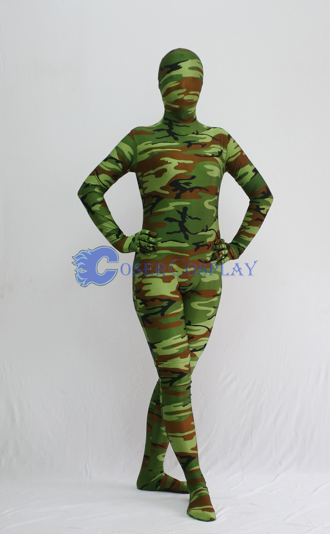 Coffee Green Camouflage Zentai Suit