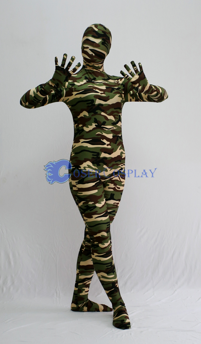 Dark Color Green Camouflage Zentai Suit