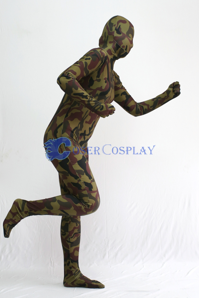 Dark Green Camouflage Zentai Suit