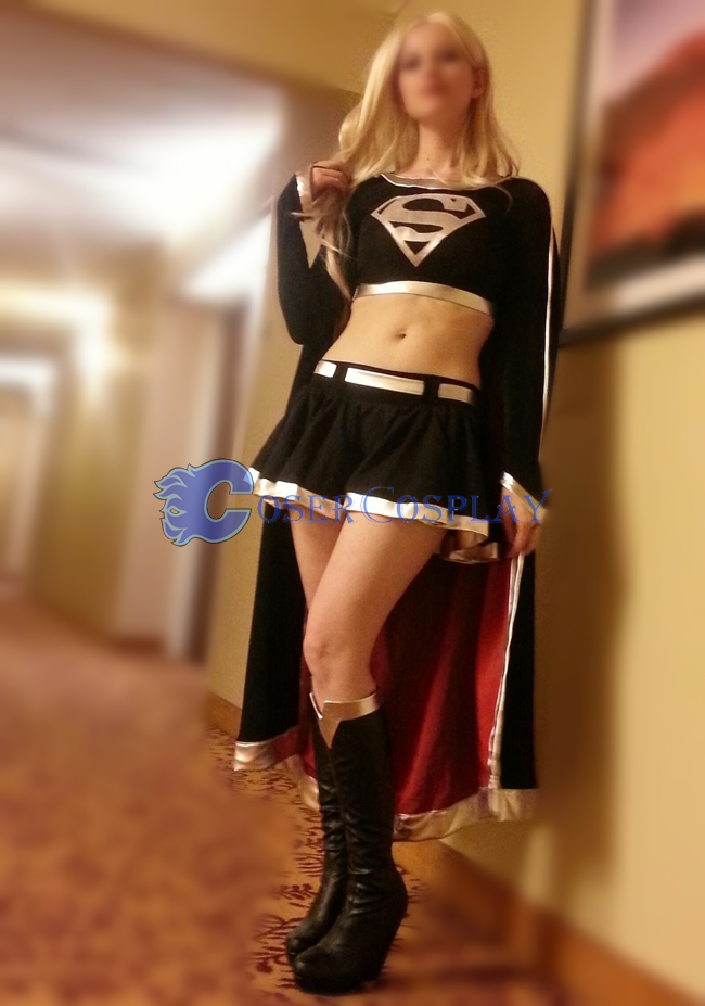 Dark Supergirl Cosplay Costume Girl Black Dress