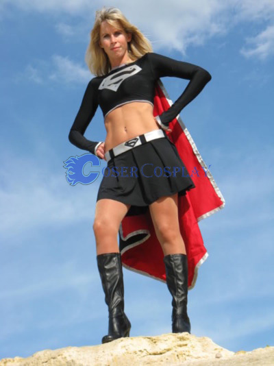 Dark Supergirl Cosplay Costume Spandex Dress