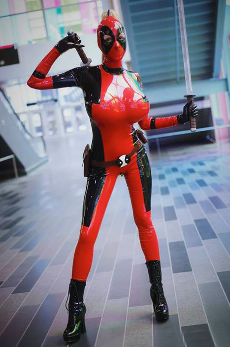 Deadpool Cosplay Costume Sexy Pvc Halloween 15070239
