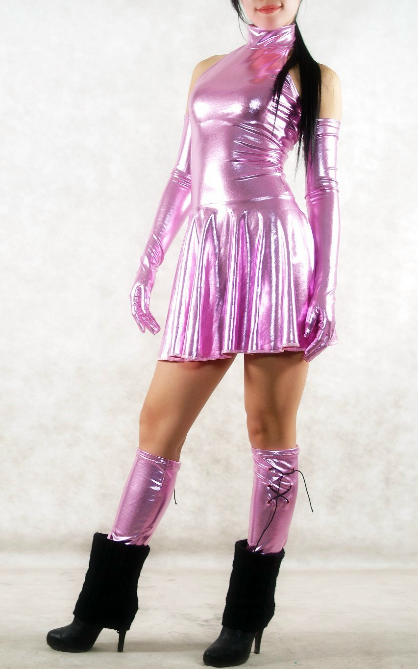 Dress Shiny Spandex Halloween Costumes Fushia