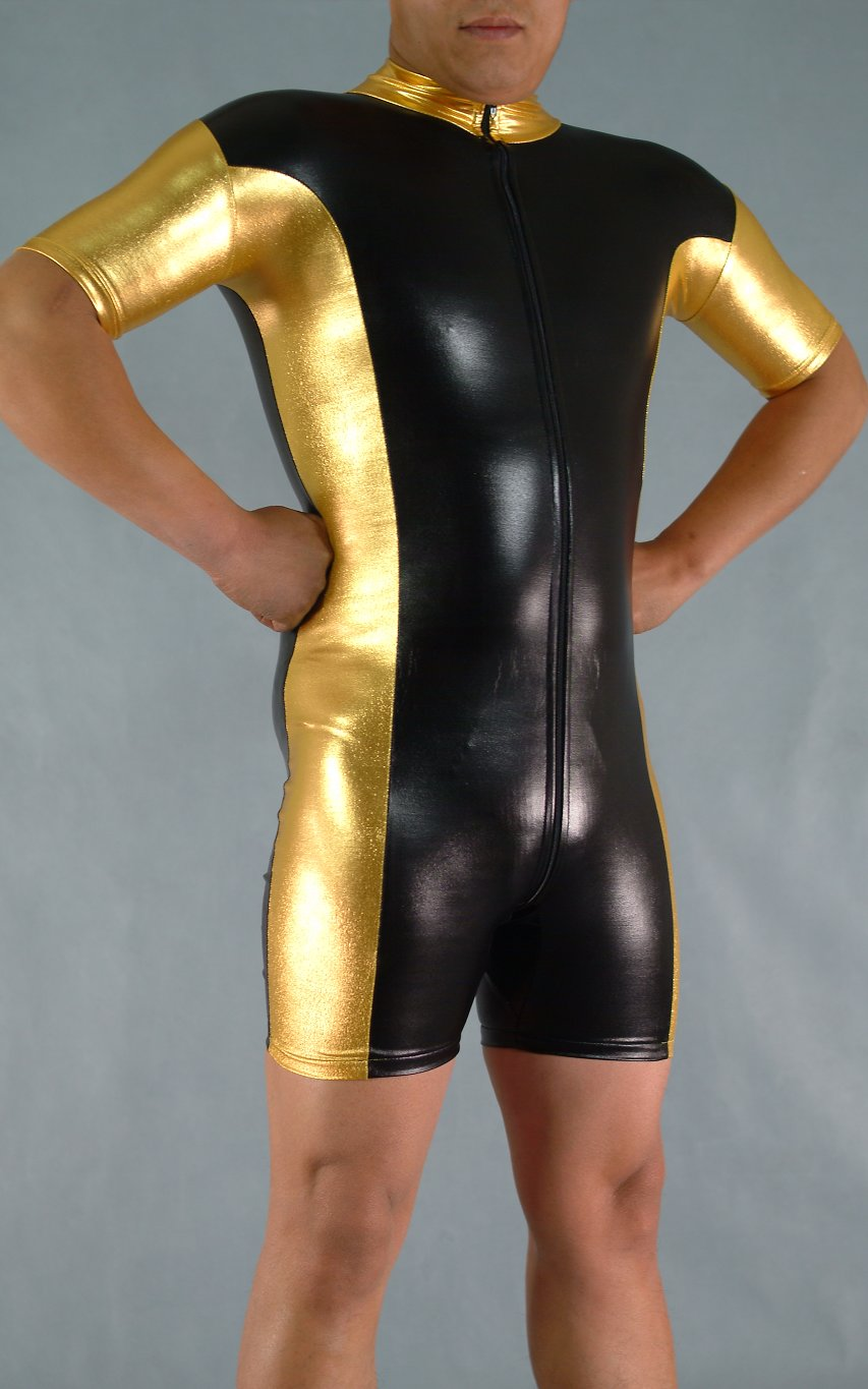 Gold And Black Shiny Spandex Bodysuit