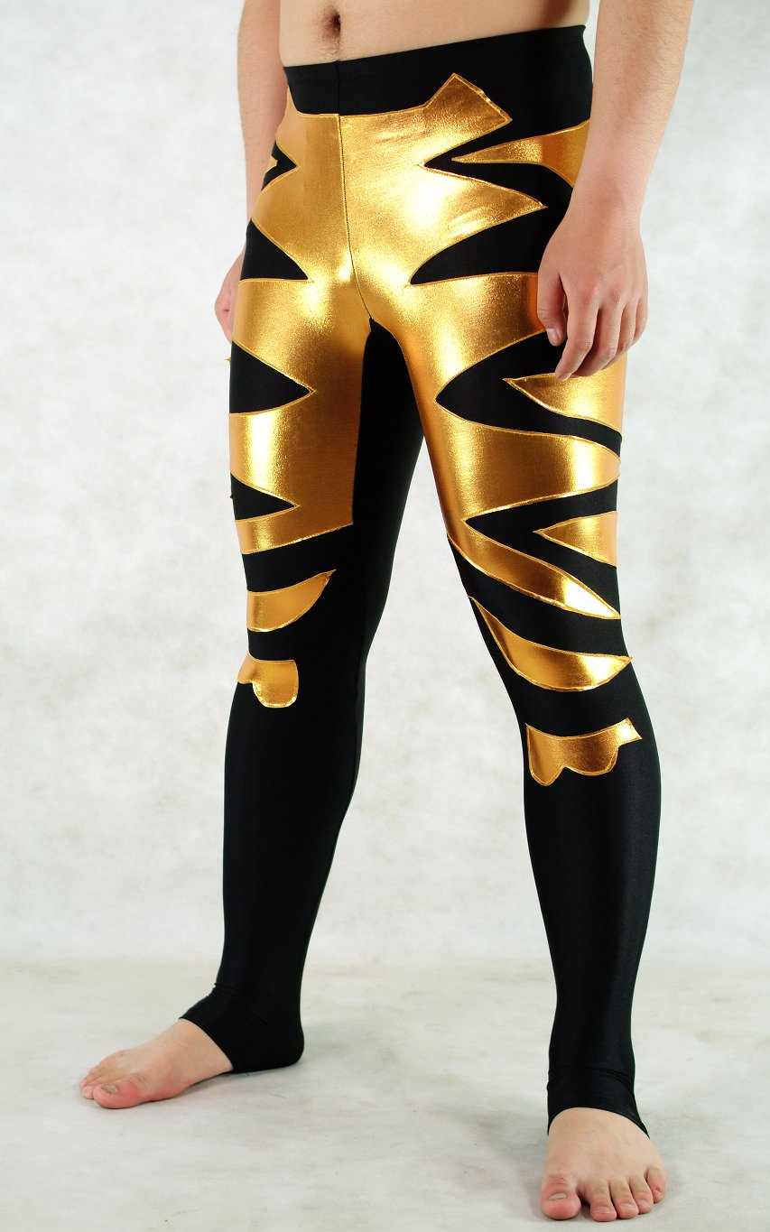 Gold Black Spandex Leggings