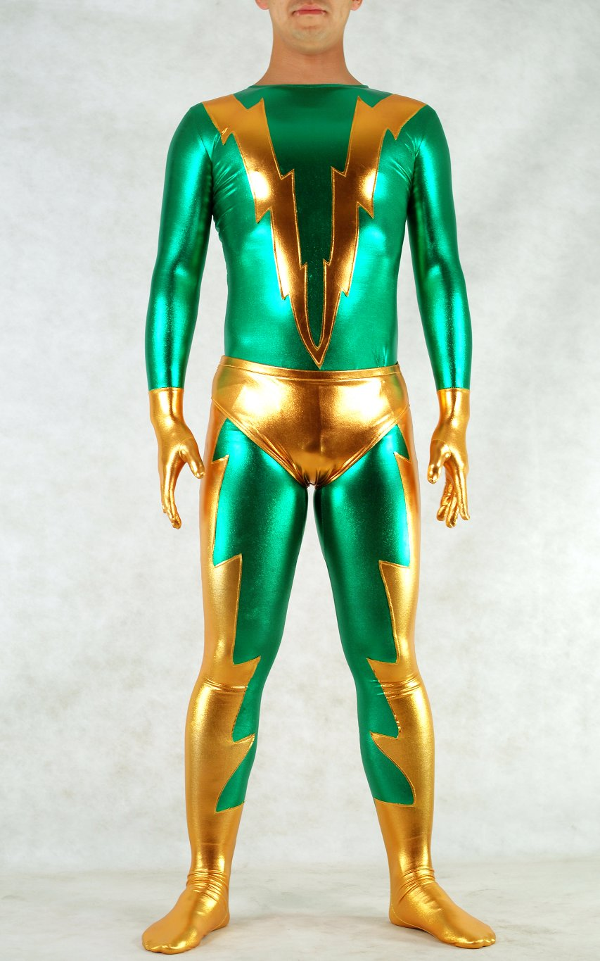 Gold Green Shiny Spandex Catsuit For Halloween