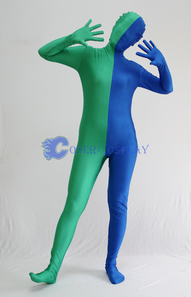 Green And Blue Split Zentai Suit