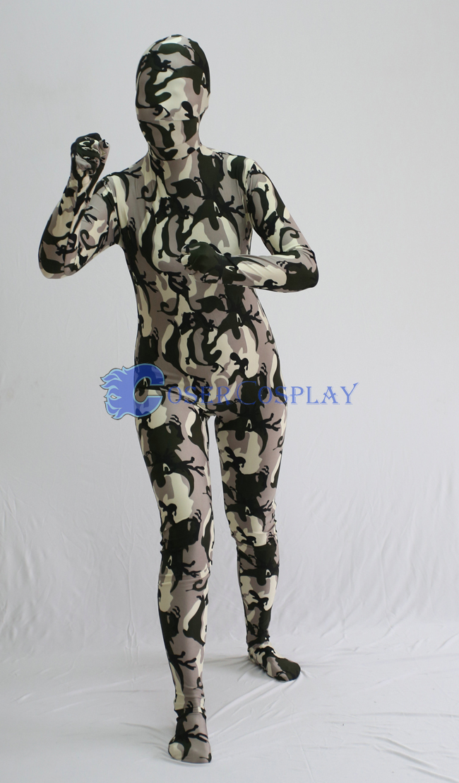 Grey Black Camouflage Zentai Suit