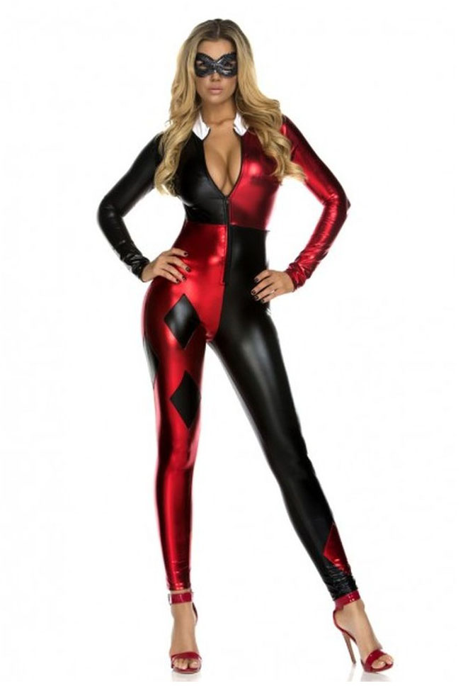 Harley Quinn Cosplay Costume Halloween Catsuit 15112075