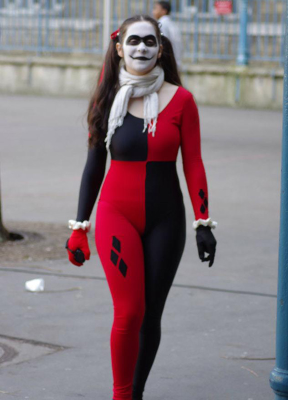 Harley Quinn Cosplay Costume Halloween Catsuit 15112078