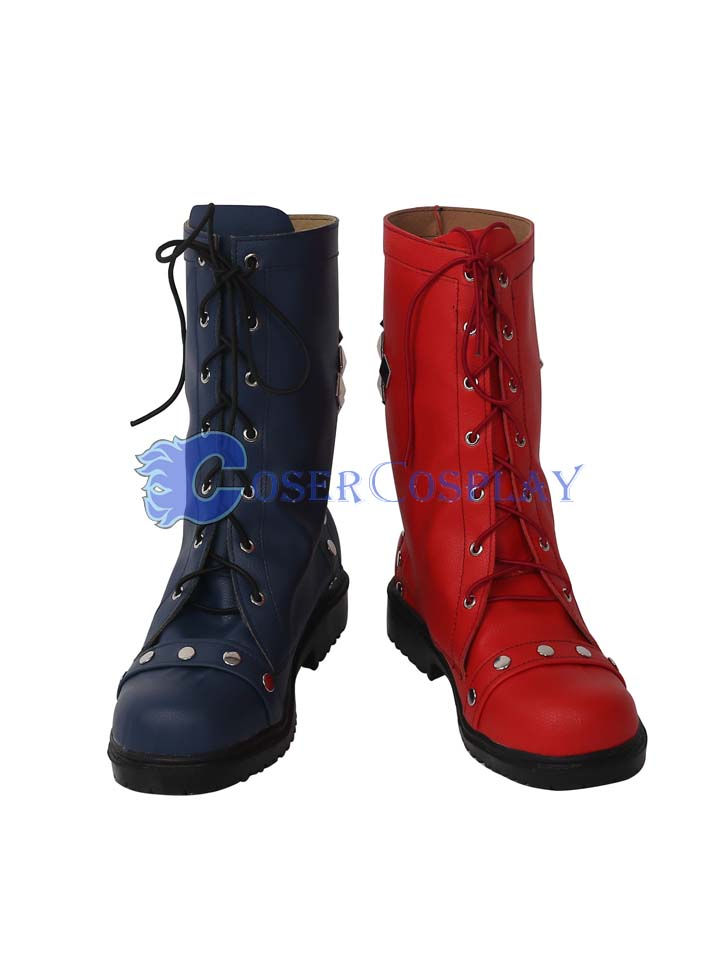 Harley Quinn Red And Black Cosplay Boots