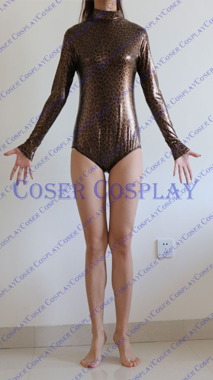 2019 Leopard Print Leotard Sexy Wetlook Catsuit 0322