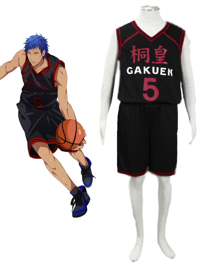 0f6f719c1 Kuroko s Basketball Daiki Aomine Tōō High School Basketball Team Uniform  Black Number 5 Cosplay Costume