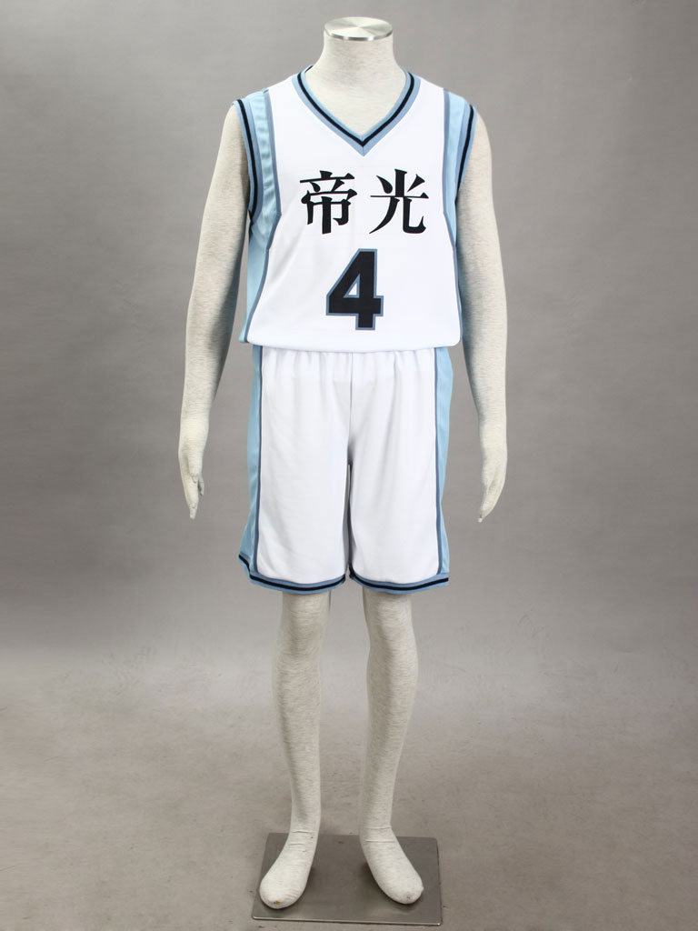 Kuroko's Basketball Seijuro Akashi  Teikō Middle School's basketball team Uniform White Number 4 Cosplay Costume