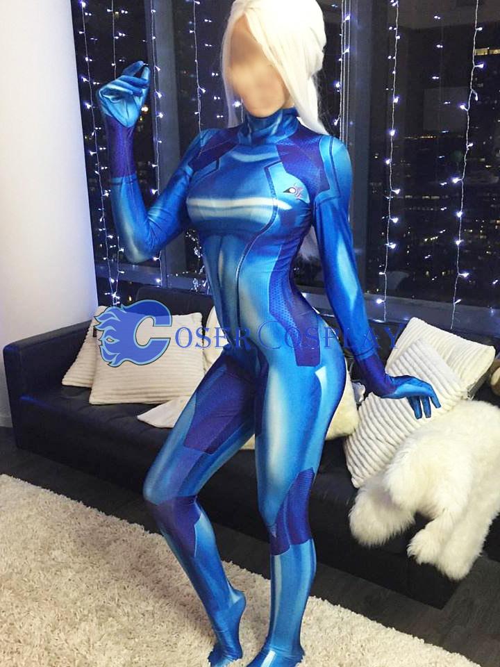 Metroid Samus Aran Cosplay Costume Sexy Catsuit Blue