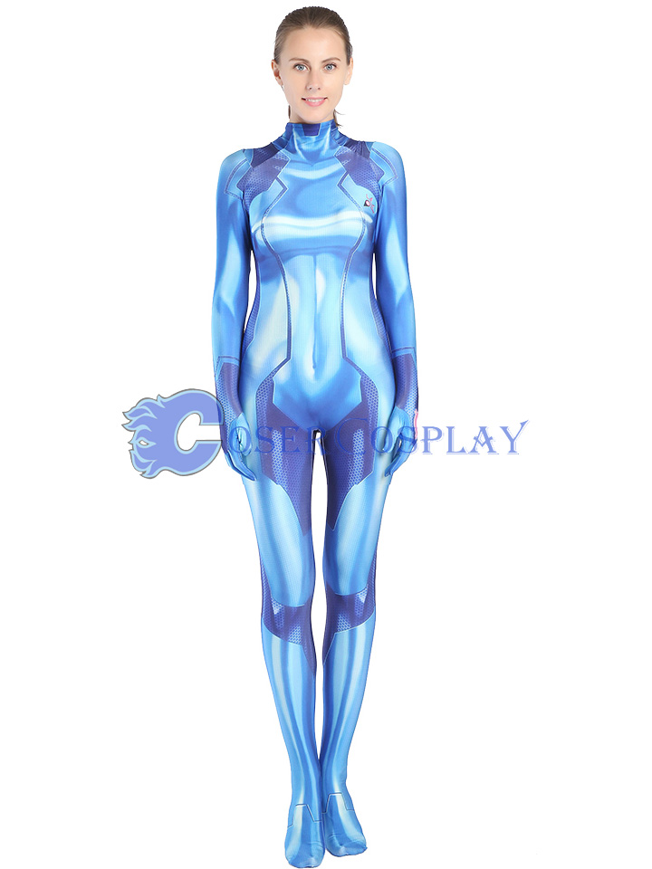 METROID Samus Aran Cosplay Costume Sexy Catsuit Blue