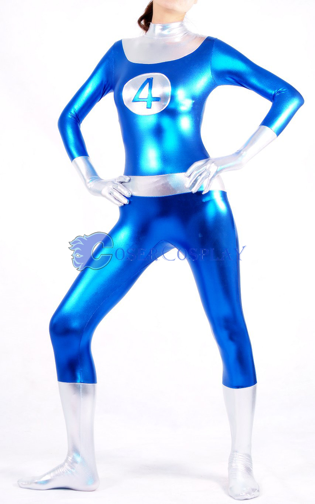Marvel Sue Storm Shiny Spandex Cosplay Costume