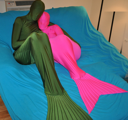 Mermaid Lycra Zentai Suit Army Green